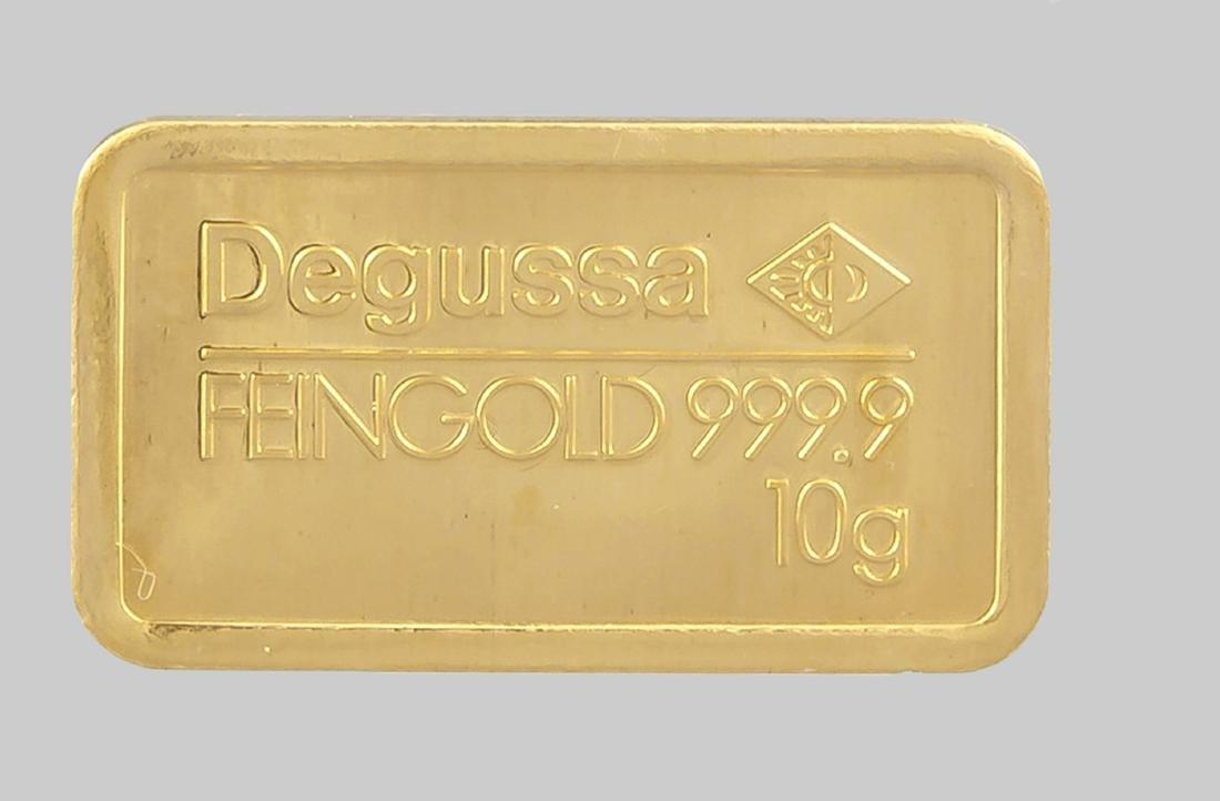 Kleiner Goldbarren, Degussa Feingold 999,9, 10 Gramm