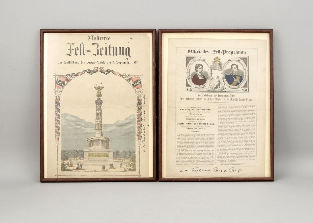 Zwei Flugschriften des 19. Jh., mit  Autographen von
