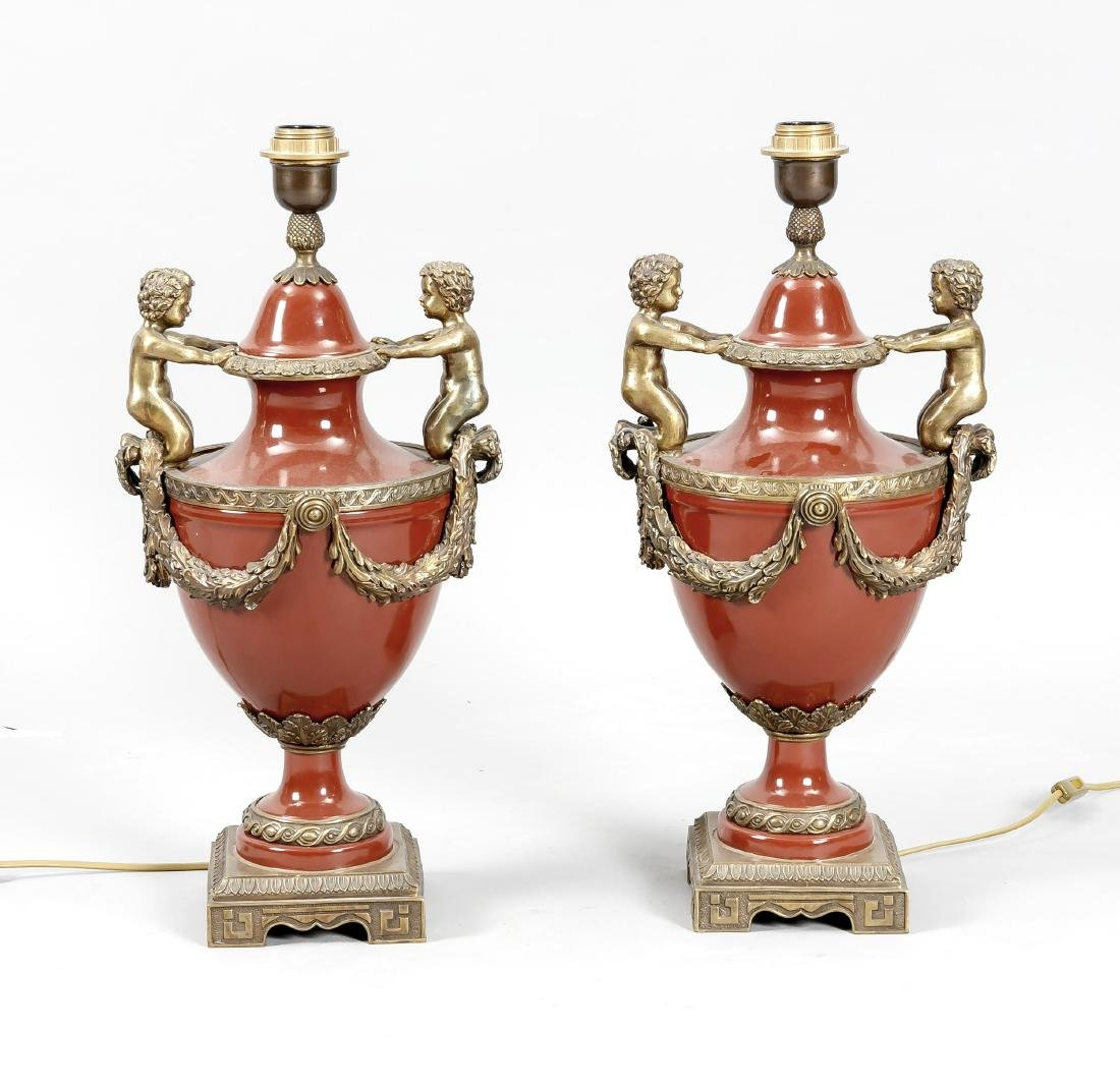 Paar dekorative Lampen im Stil des 19. Jh., Mitte 20.