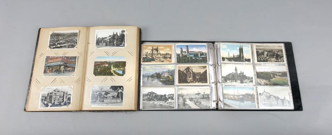 Zwei Alben mit Ansichtskarten 1. H. 20. Jh., ca. 500 - 2