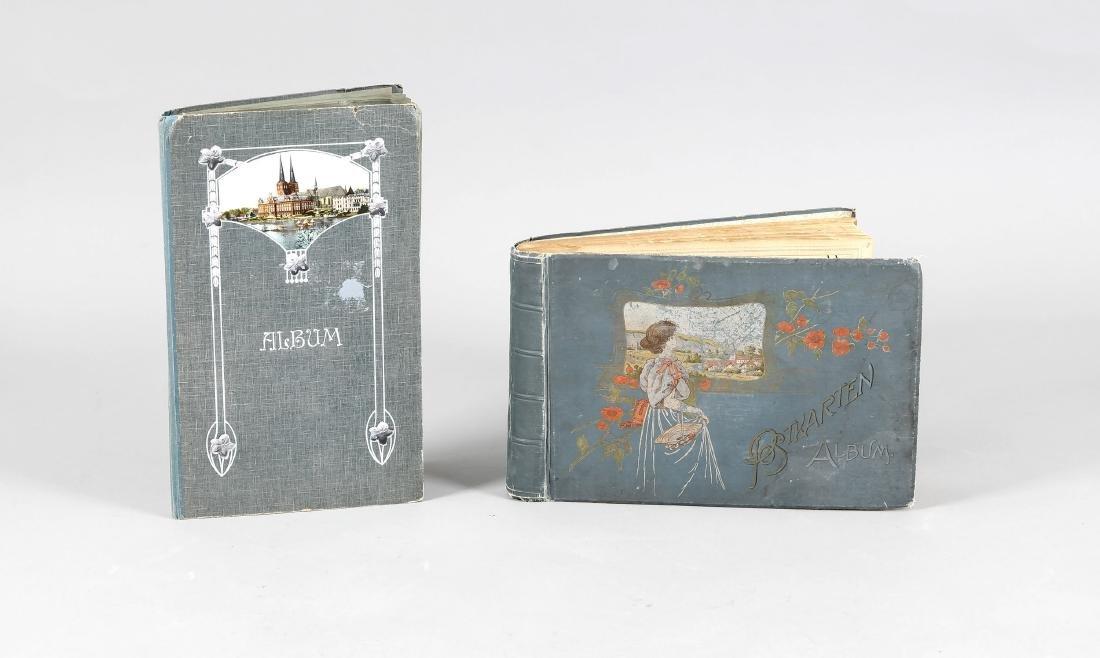 Zwei Alben mit Ansichtskarten 1. H. 20. Jh., ca. 350