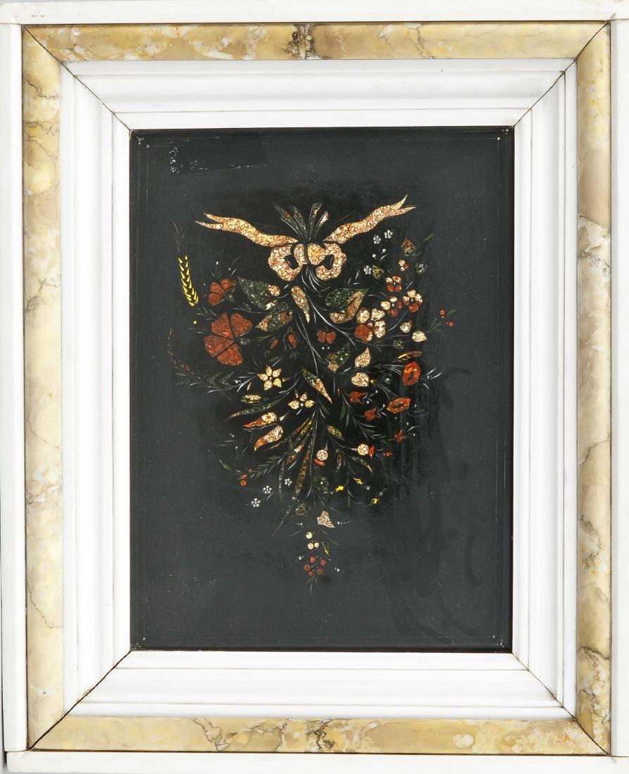 Pietra Dura Platte, wohl Italien 19. Jh., Blumenbouquet