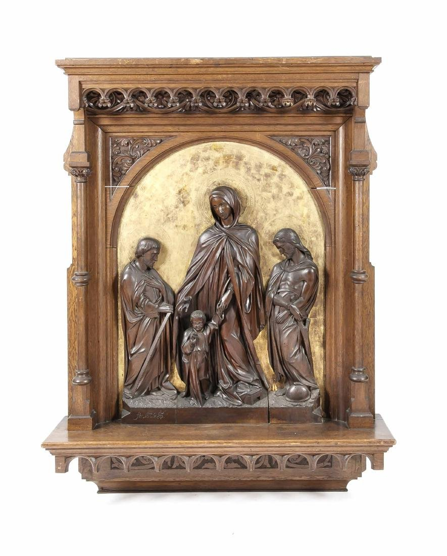 Imposing sacral relief, 19th century, stained oak,