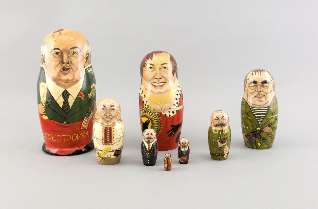Matroschka mit 8 russischen Politiker-Karikaturen,