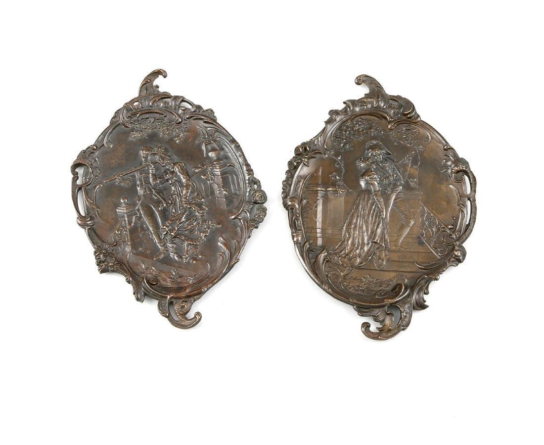 2 Historismus-Appliquen, spätes 19. Jh., Bronze,