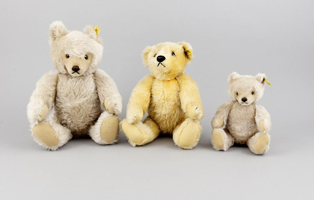 Konvolut von 3 Teddybären, Steiff, 80er Jahre, helles
