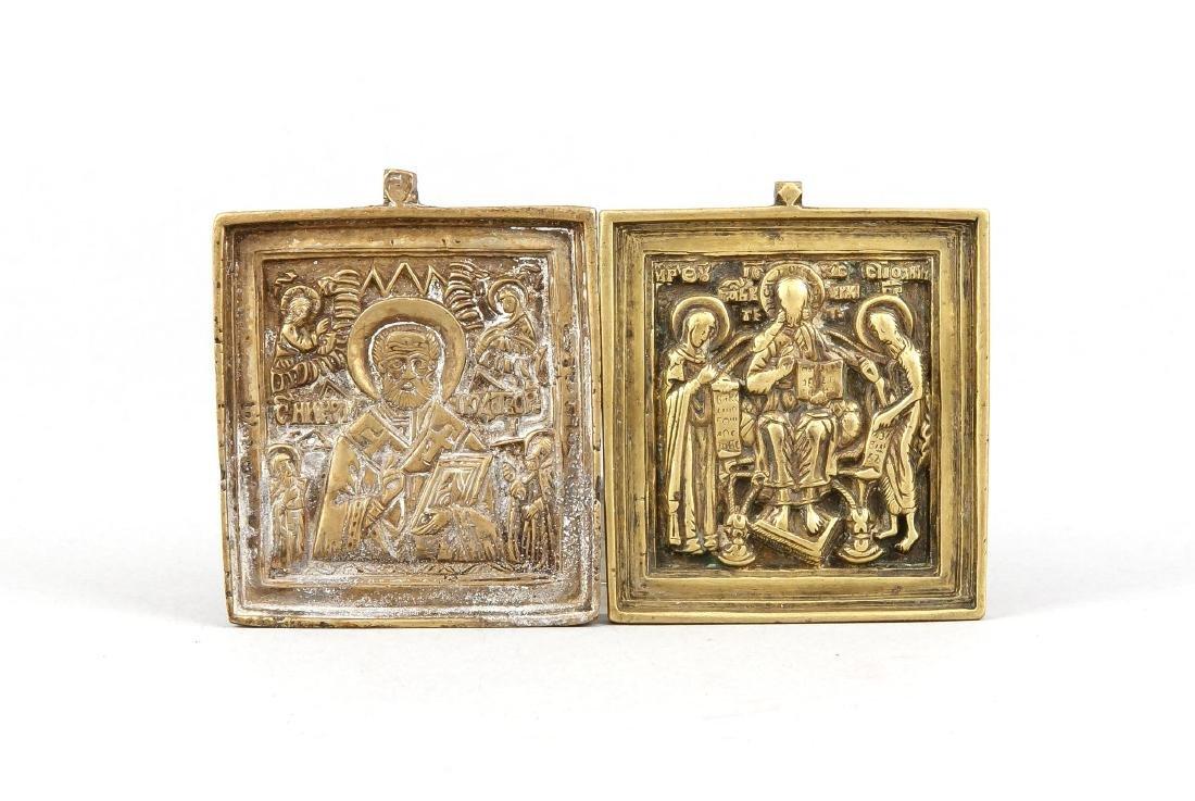2 kleine Reiseikonen, Russland, 19. Jh., Bronze, einmal