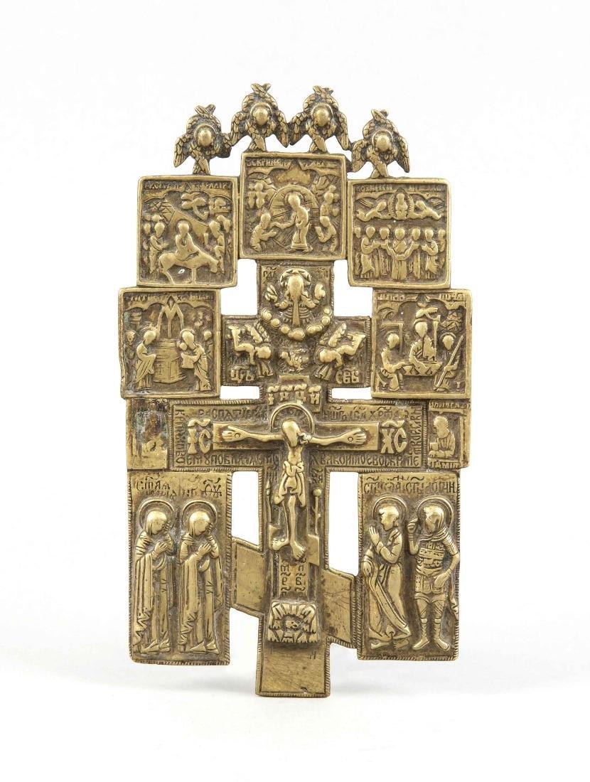 Orthodoxes Hauskreuz, Russland, 18 Jh., Bronze,