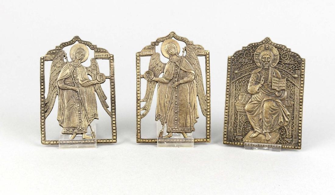 Messingikone, Russland, 19. Jh., Triptychon (nicht
