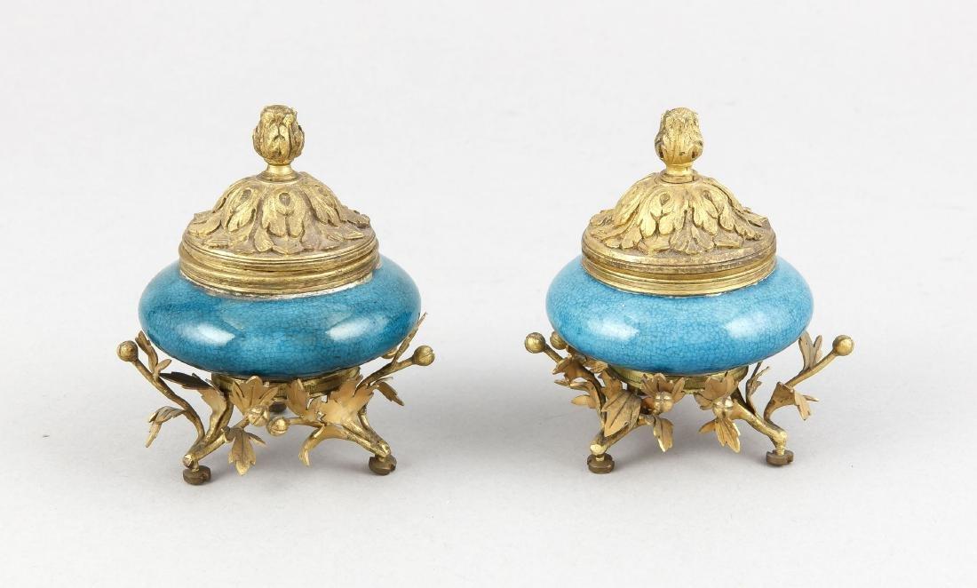 Paar Napoleon III-Tintengefäße, Frankreich, um 1870,