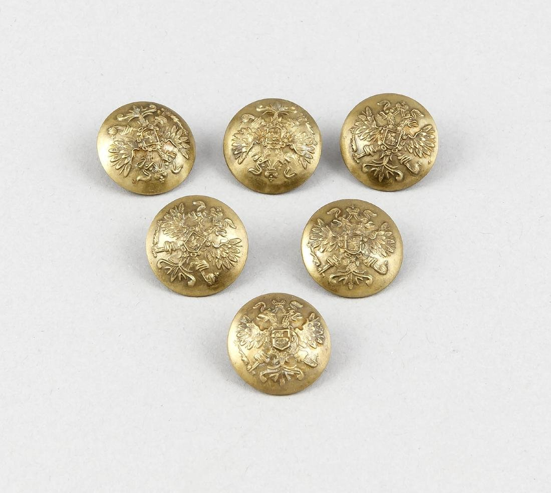 Six buttons, Russia, brass, with relief decoration,
