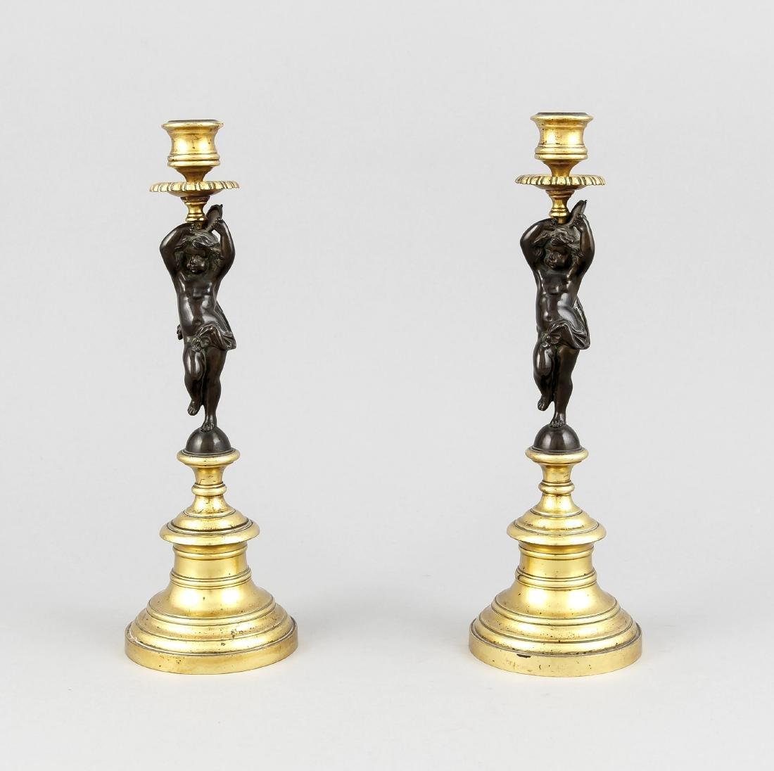 Paar figürl. Historismus-Leuchter, um 1870, Bronze,