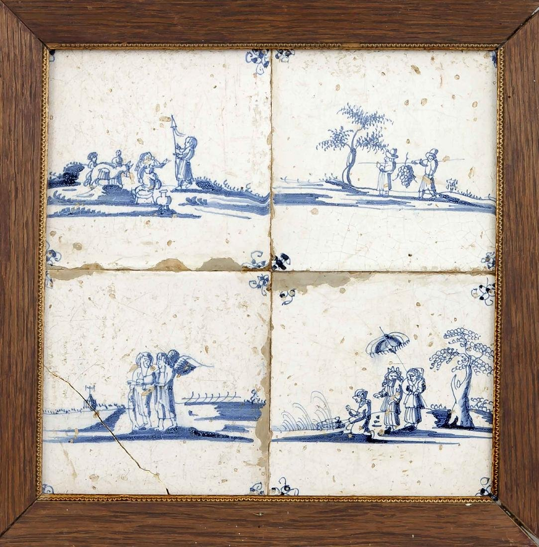 Fliesenbild, 18. Jh., Keramik, blaue Figurenstaffagen,