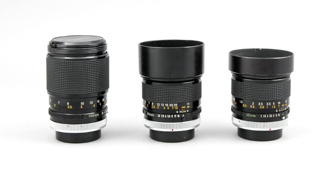 Drei Canon Objektive, Canon Lens FD 35mm 1:2 SSC, 135mm