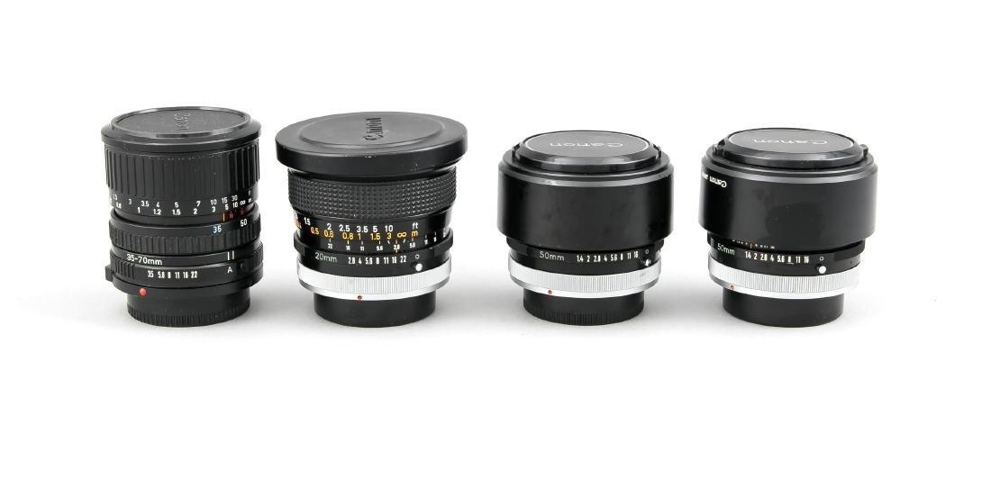 Vier Canon Objektive, 2 x Canon Lens FD 50mm 1:1.4 SSC,