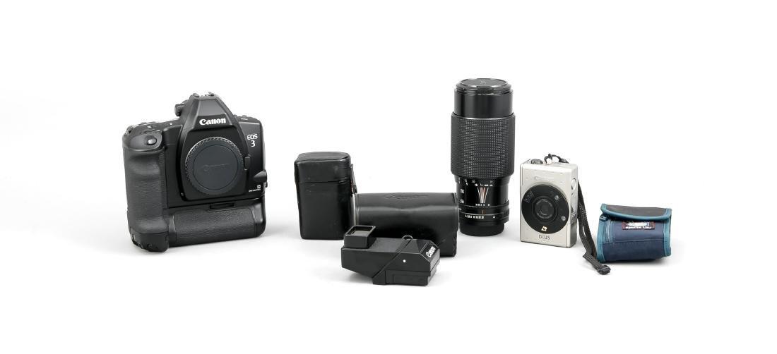 Konvolut Canon, Kameragehäuse EOS 3, Objektiv Canon