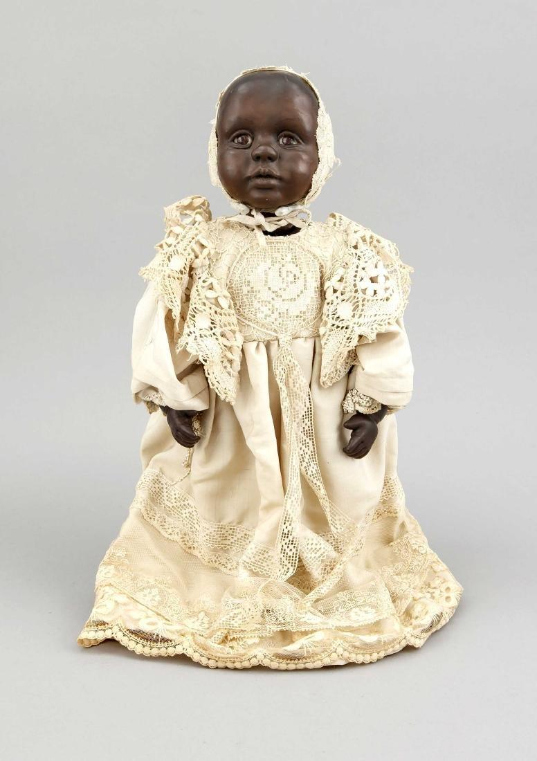 Puppe, afrikanisches Kind, weiche Masse, H. 35 cm