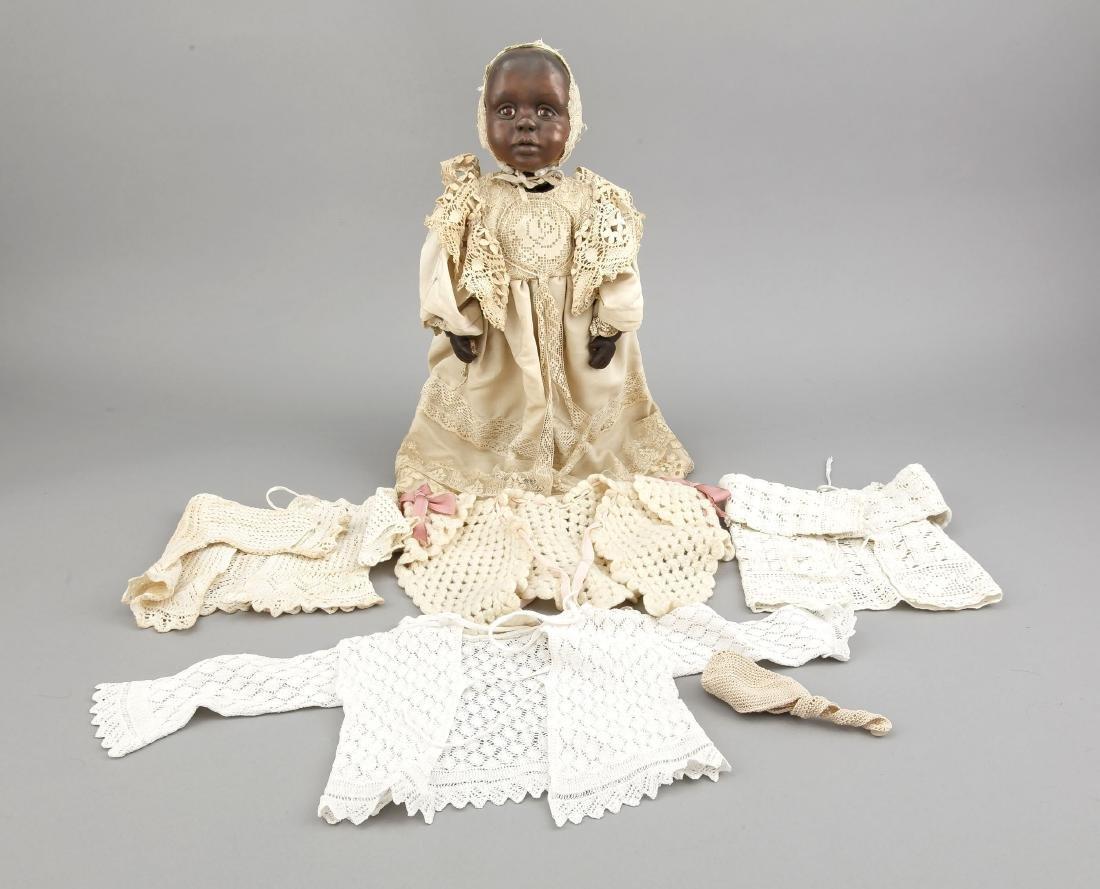 Puppe, afrikanisches Kind, weiche Masse, H. 35 cm - 2