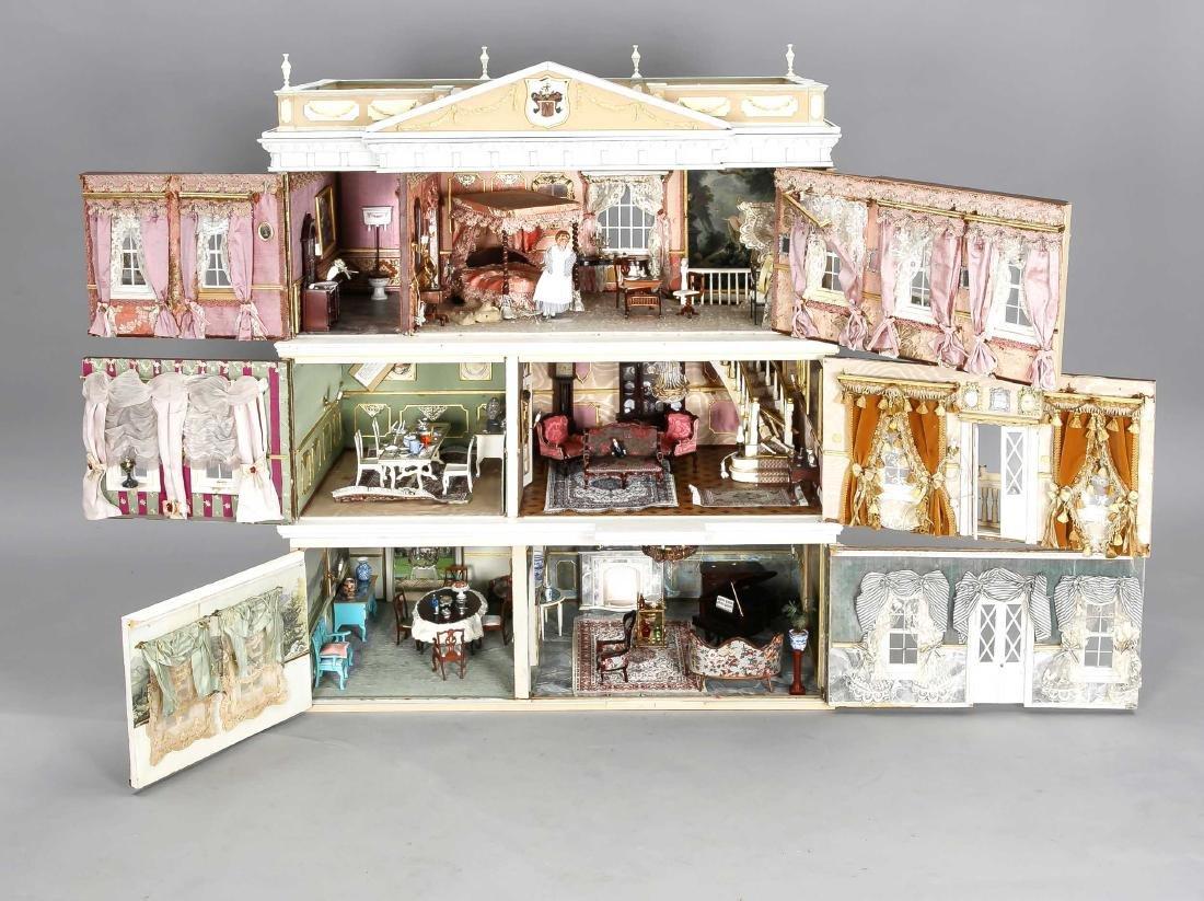 Puppenhaus mit mehreren Etagen, 20. Jh., mit reichlich