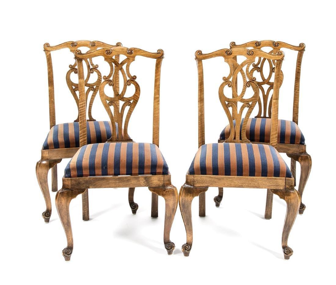 6er-Satz Stühle, Nussbaum / Erle massiv und furniert,