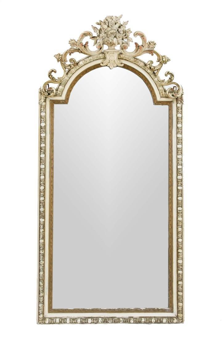 Großer Salonspiegel, Holz und Stuck, Rokoko-Stil, 19.