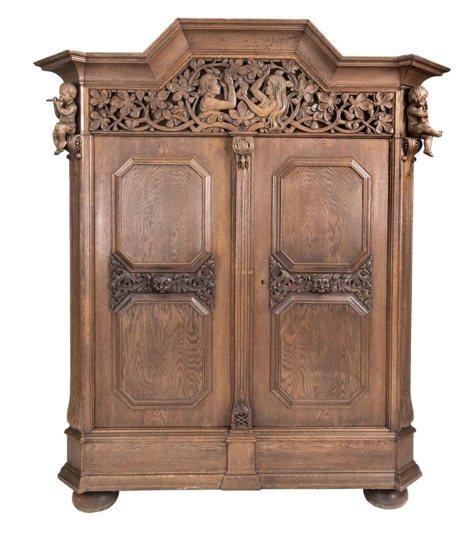 Kleiderschrank, Eiche massiv, um 1900, Türen und Seiten