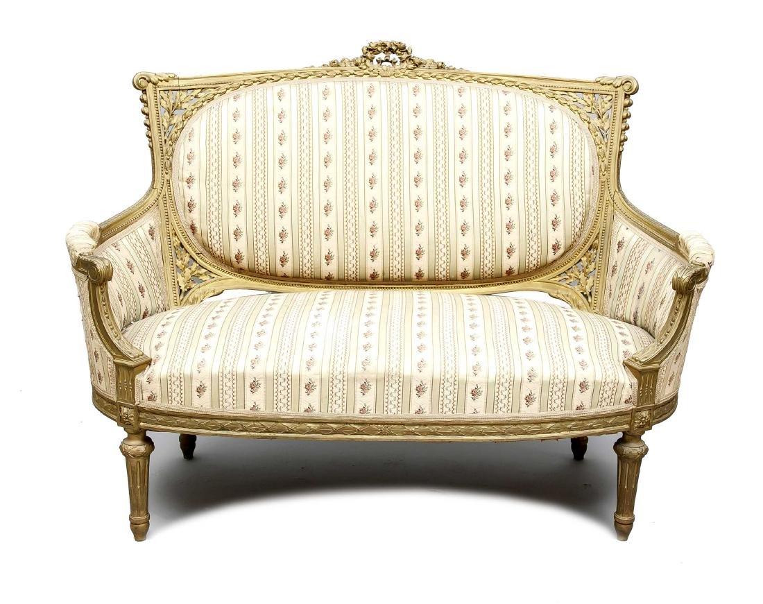 Sofa, Buche gefasst und vergoldet, Louis XVI-Stil, 19.