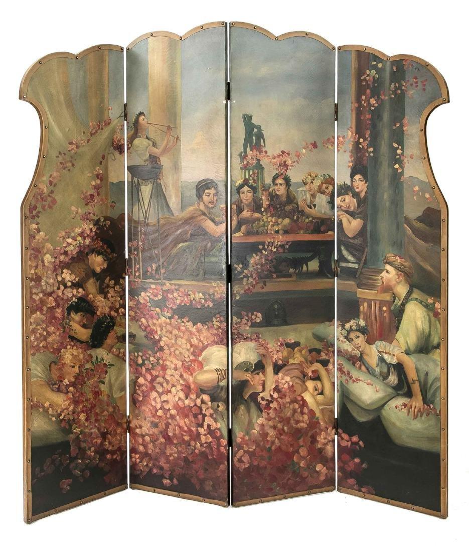 Paravent, Holz, Ölmalerei auf Leinenwand, um 1900, vier