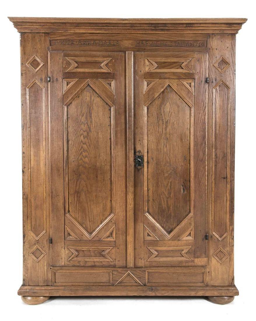 Kleiderschrank, Eiche massiv, Spätbarock, datiert 1750,