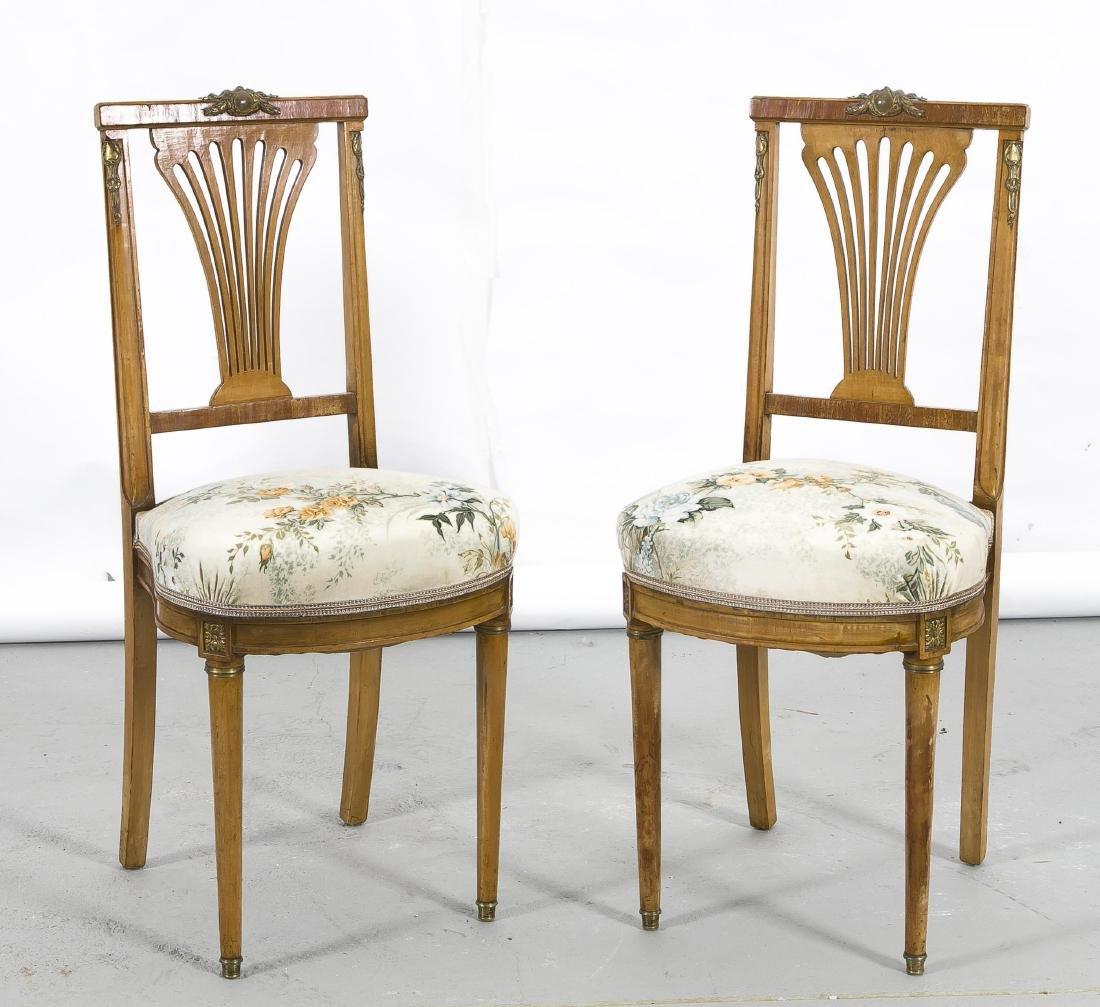 Paar Stühle, Empirestil, um 1920, Ahorn massiv, vorn