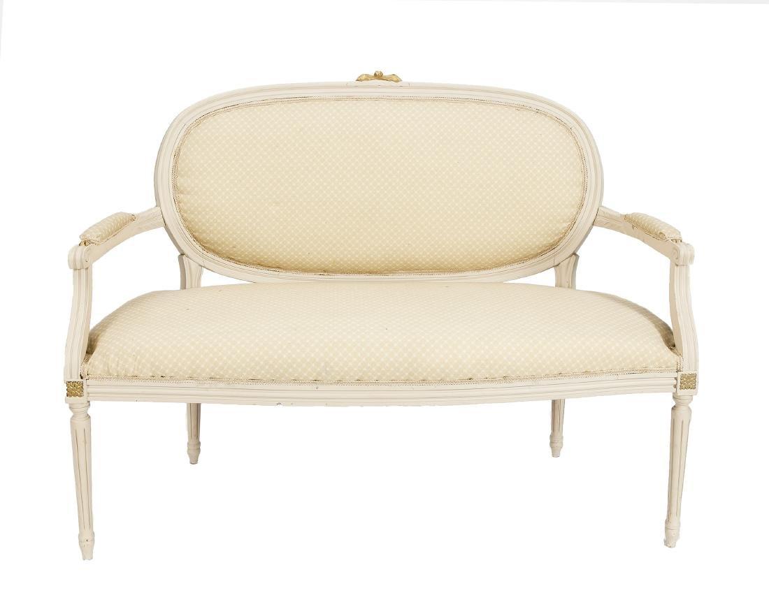 Sofa, weiß gefasste Buche massiv, Louis XVI-Stil, 20.