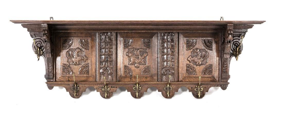 Wandgarderobe, Eiche massiv, Renaissance-Stil, 19. Jh.,