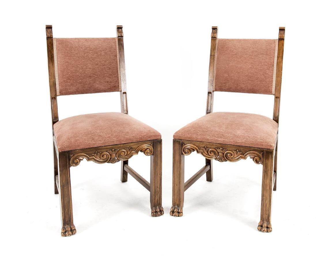 Paar Stühle, Nussbaum massiv und furniert,
