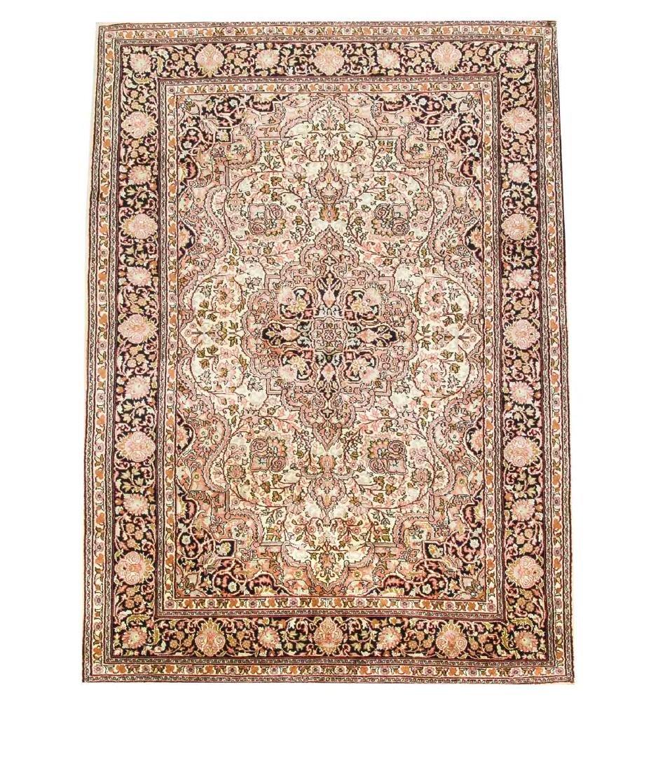 Silk carpet, 125 x 187 cm   German:   Seidenteppich,
