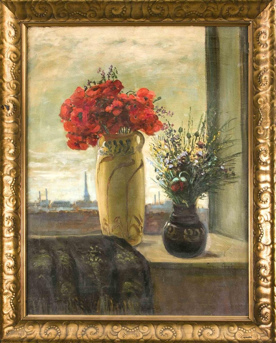 Unidentified painter, circa 1910, bouquets in a window