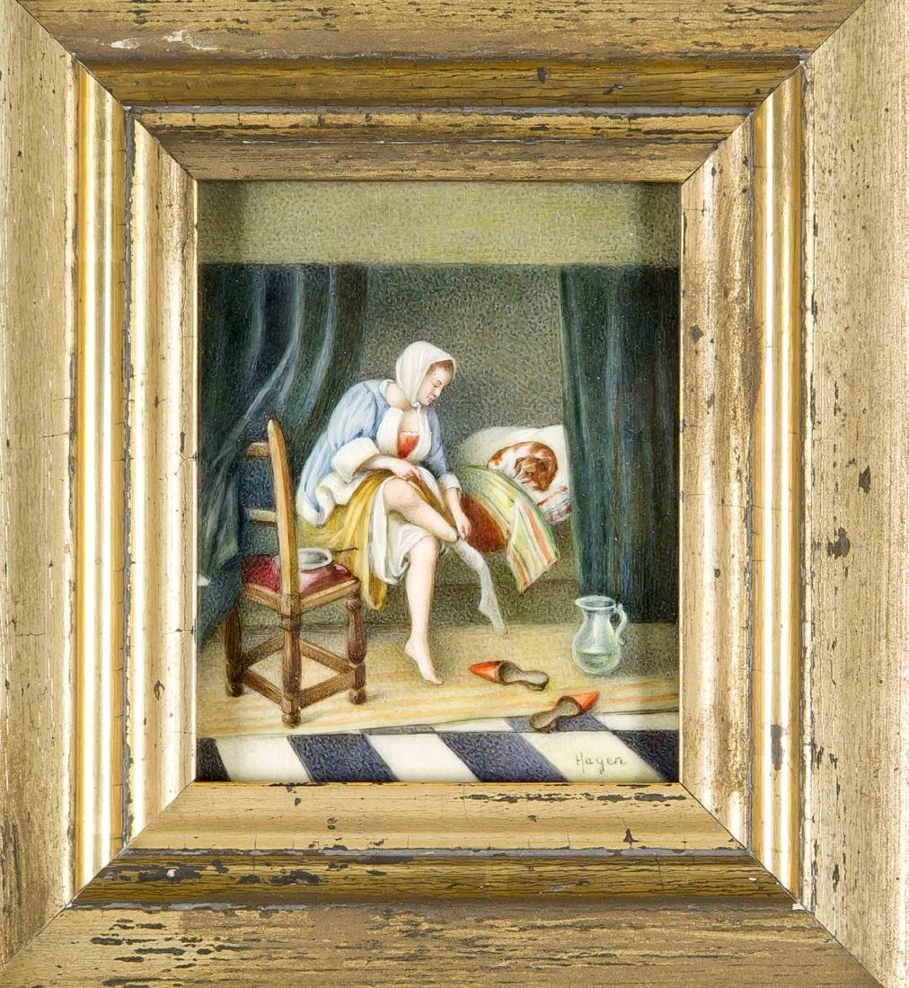 Hagen, miniature painter around 1900, woman undressing