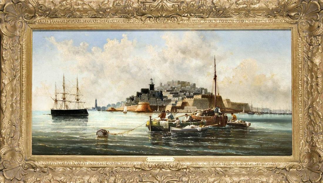 Anton Schoth (1859-1906), view of Valletta on Malta,