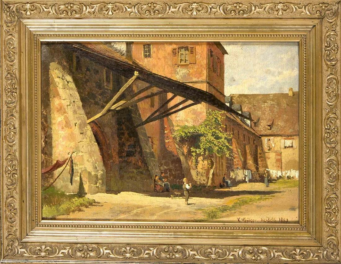 Karl Weysser (1833-1904), Heidelberg, courtyard of the