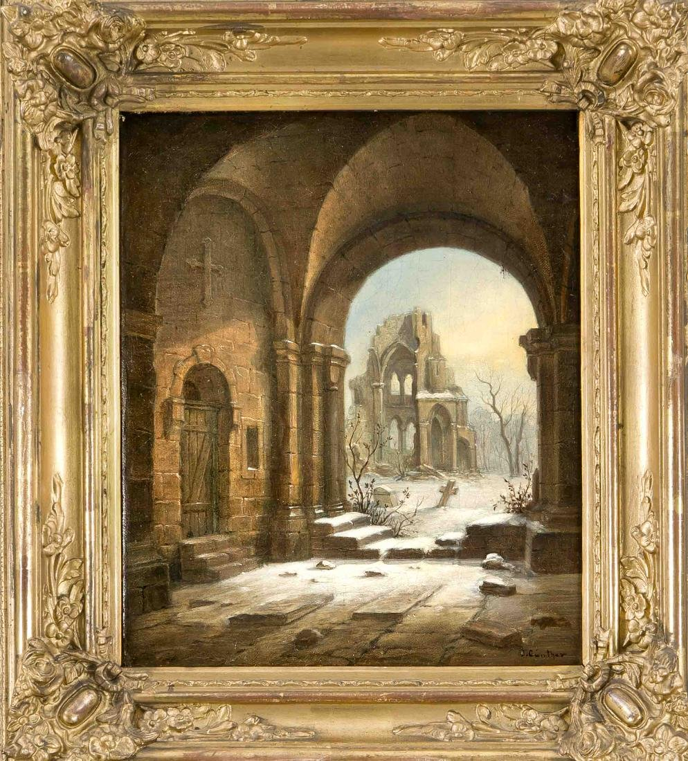 J. Günther, painter around 1900, monastery ruins in the