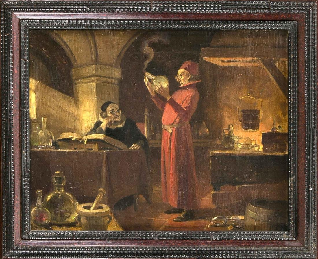 English painter of the 19th century two alchemists in