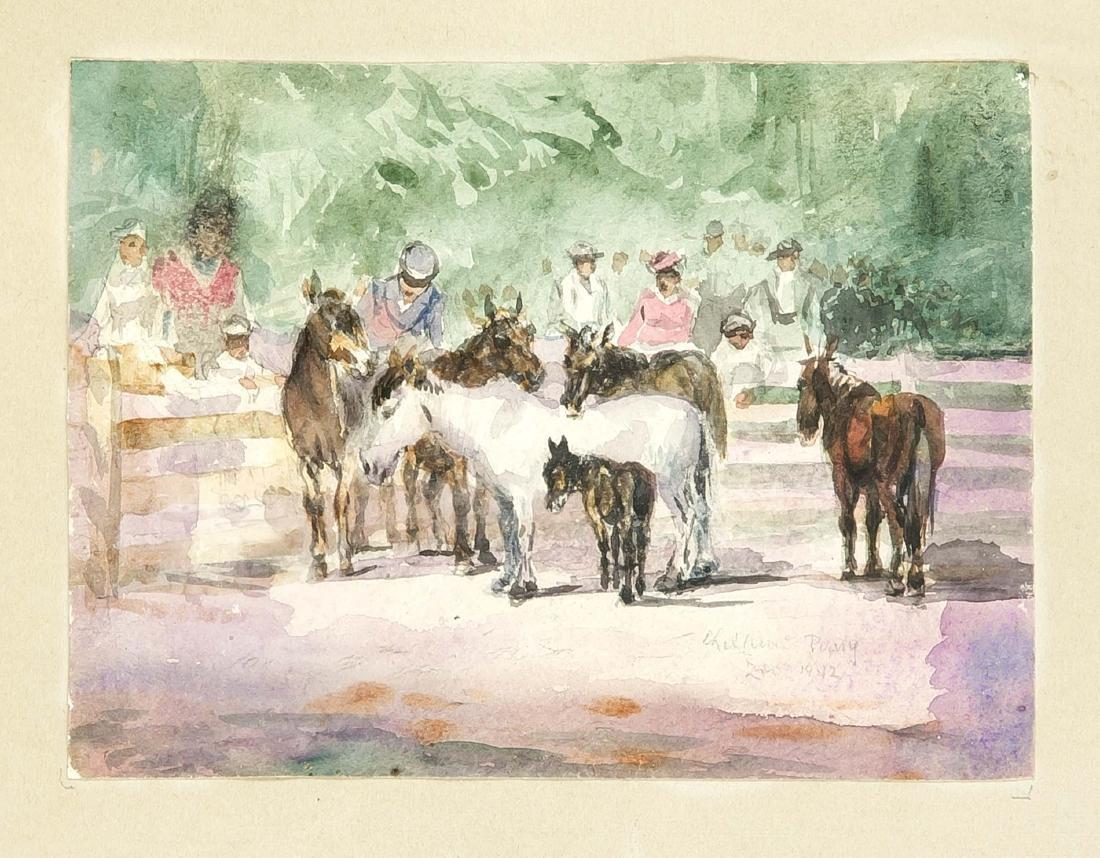 Anonymer Maler 1. H. 20. Jh., Zoobesucher am Gehege der