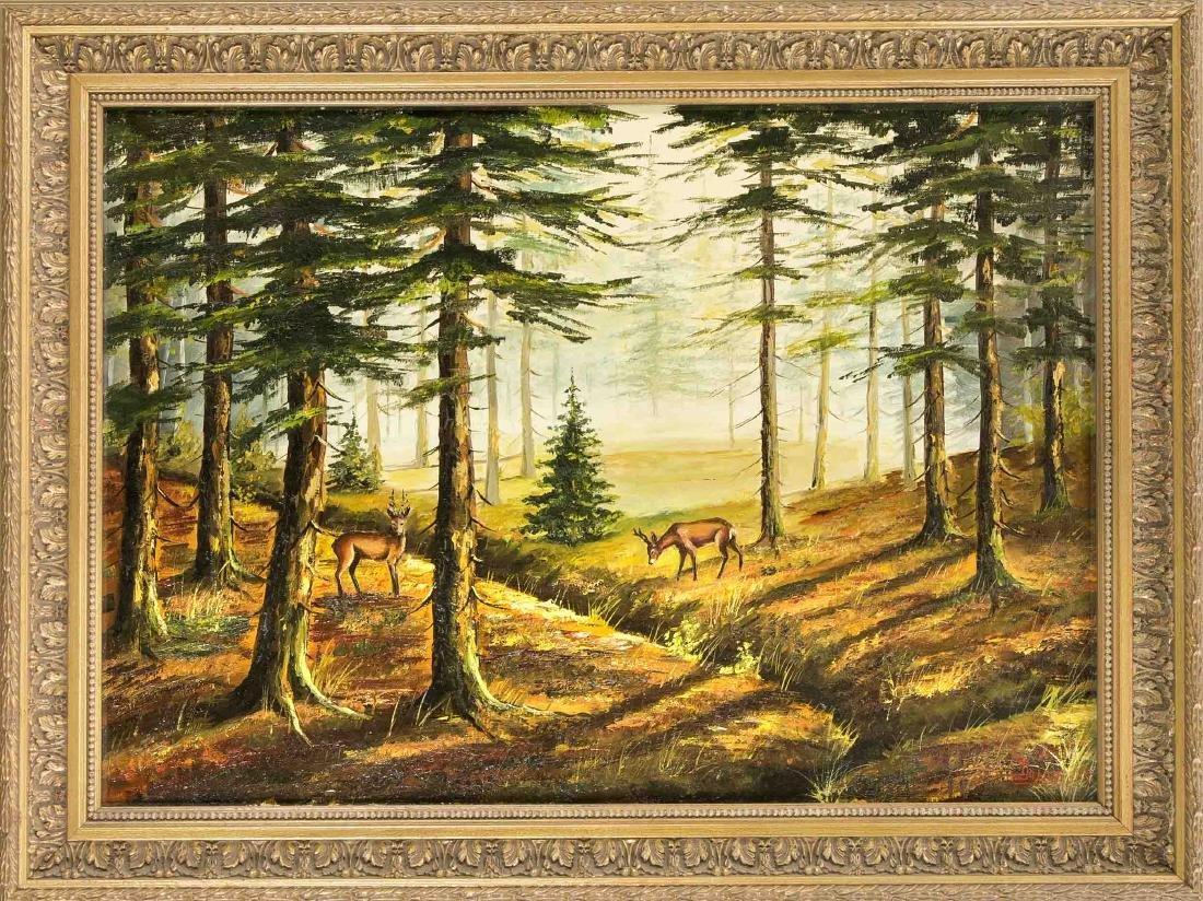 J. Janse, Hirsche im Wald, 1. H. 20. Jh., u. li. sign.,