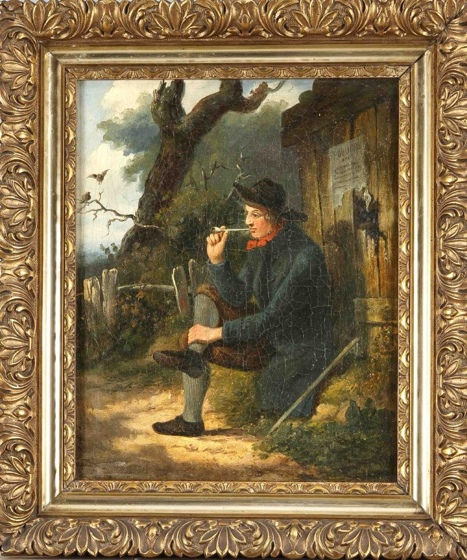 Italian painter late 19th century, young man sitting by