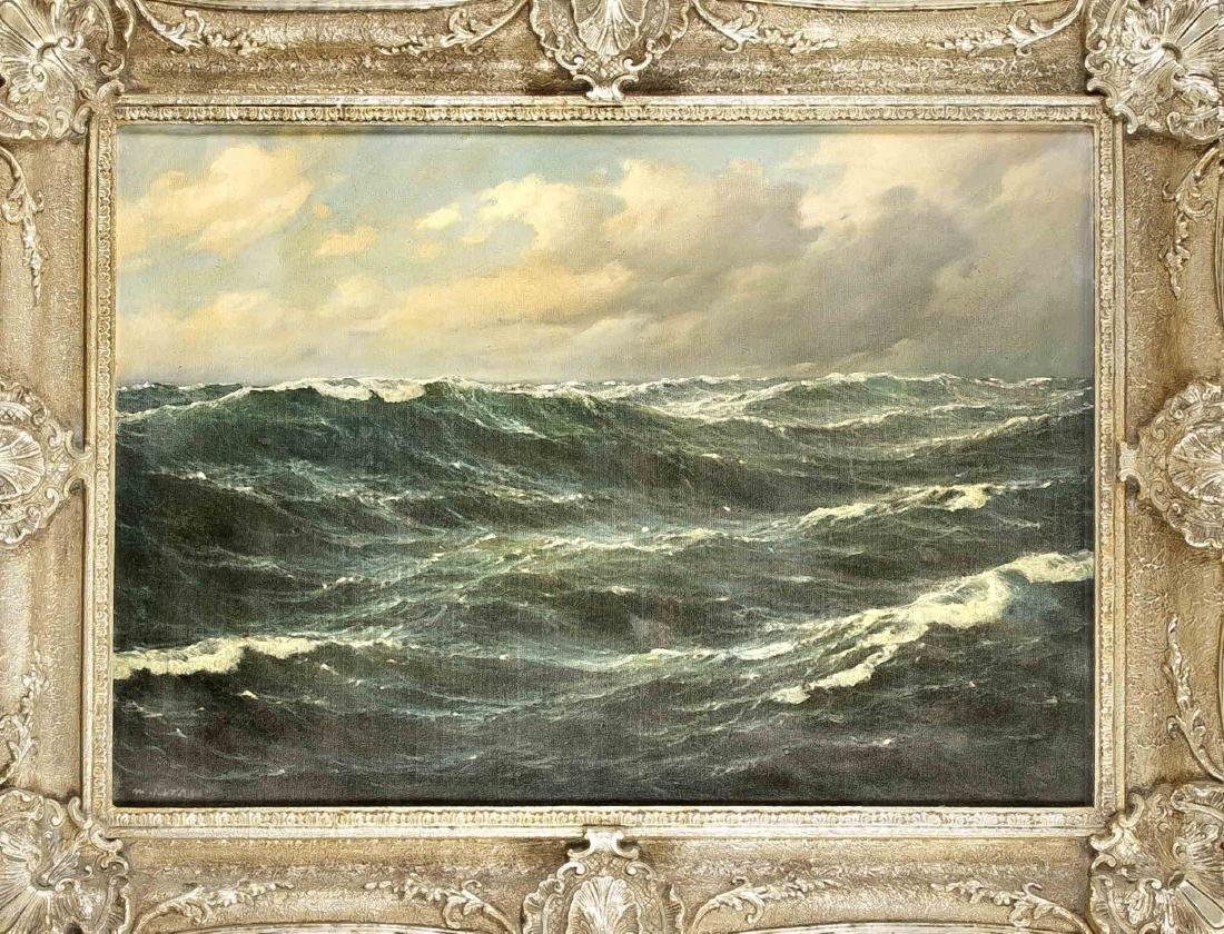 Marine painter around 1900, large seascape in high