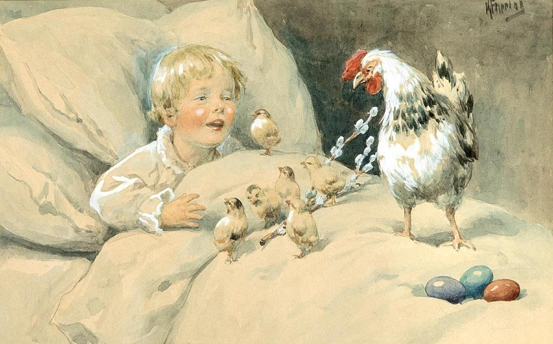 Albert Freytag (1851-1927), child is surprised in his
