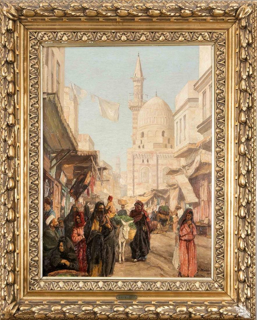 Georg Macco (1863-1933), busy street scene in North