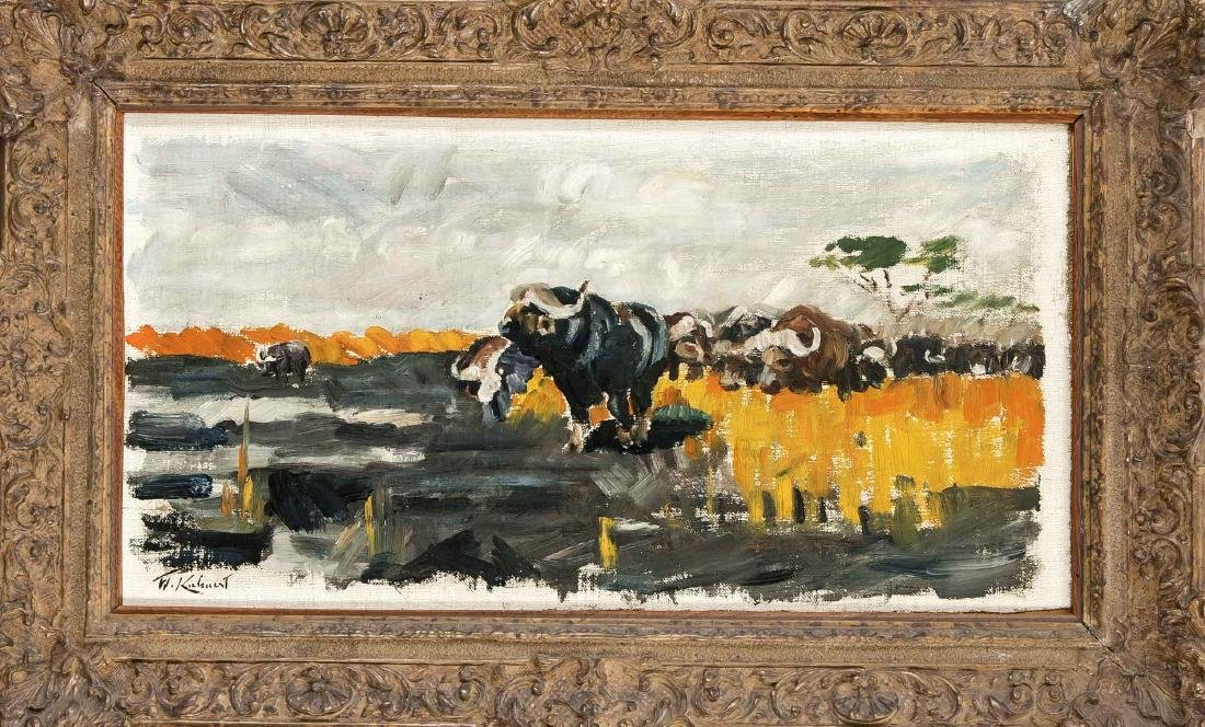 Wilhelm Kuhnert (1865-1926), water buffalo herd in the