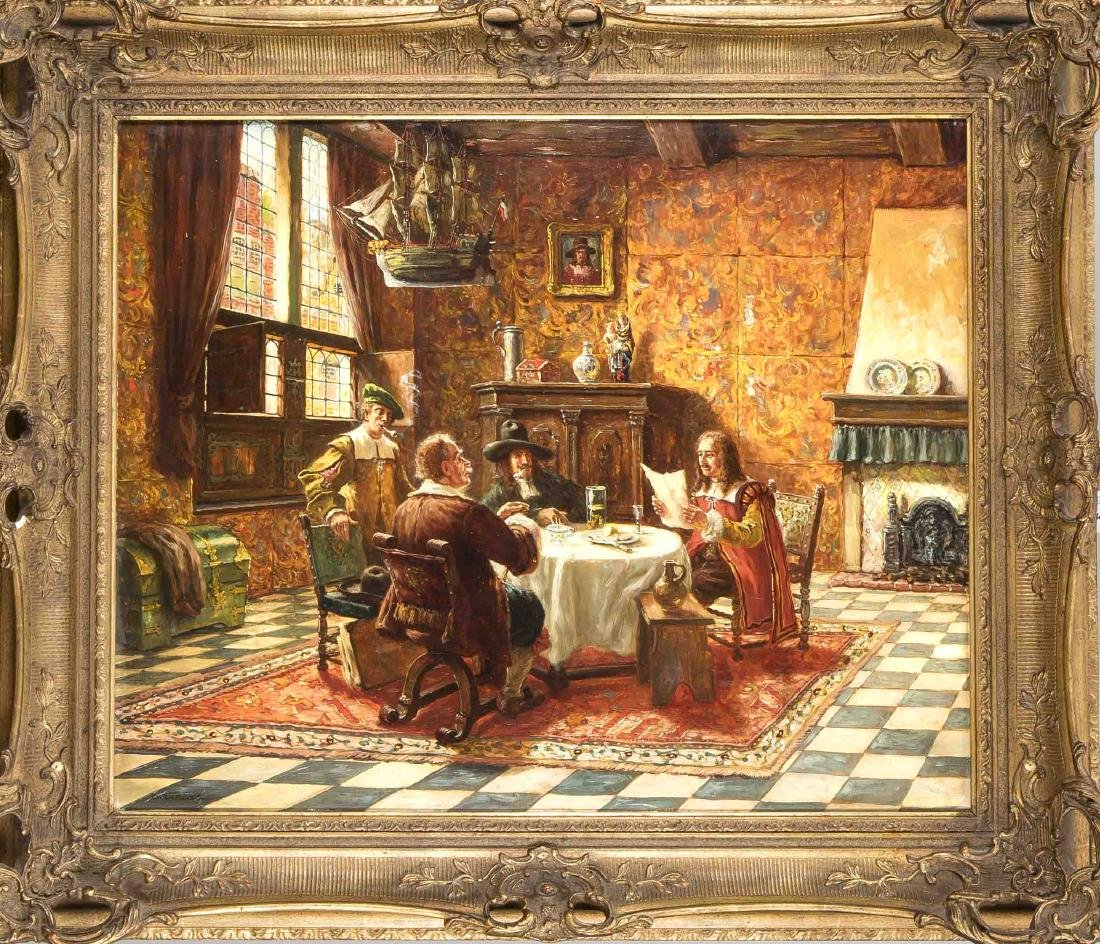 Oskar Urbahn, Munich Painter around 1900, interior with