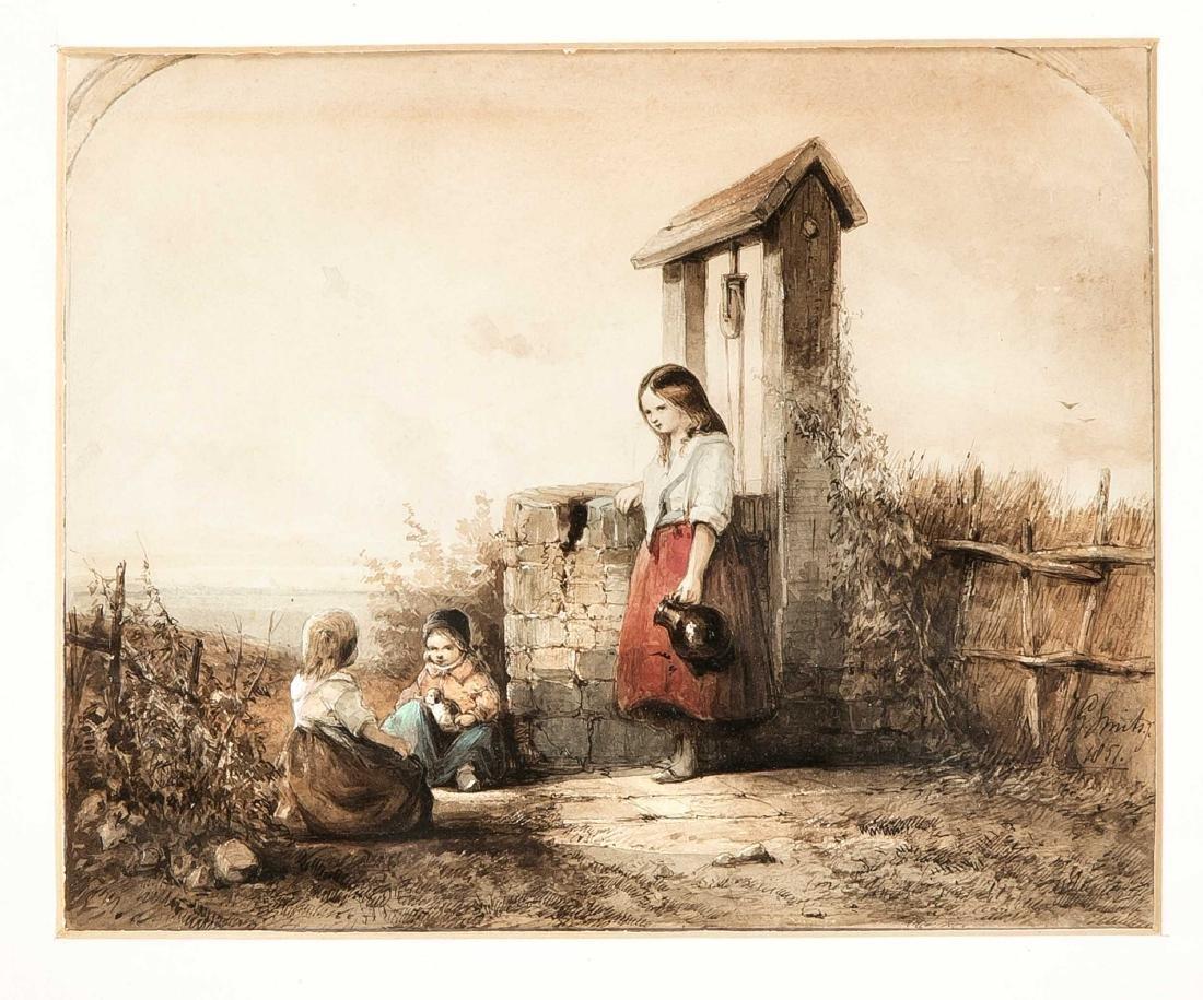 Jan Gerard Smits (1823-1910), children at the village