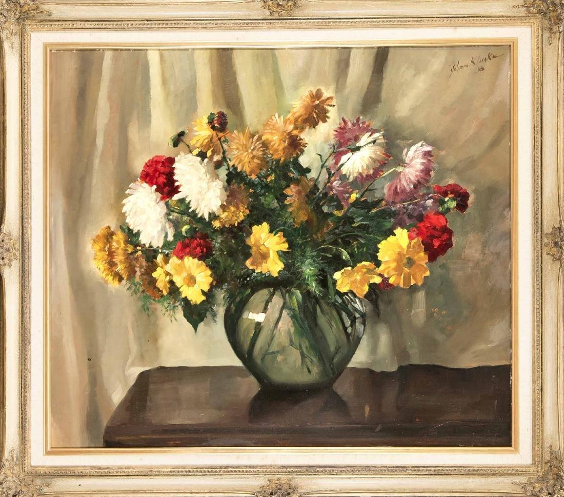 Johann Kluska (1904-1973), still life of flowers, oil /